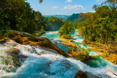 Landscape with fabulous waterfall Agua Azul, Chiapas, Palenque, Mexico. Beautiful landscape with fabulous waterfall Agua Azul, Chiapas, Palenque, Mexico. Huge stock photo