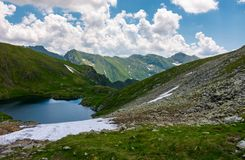 Beautiful landscape in Fagarasan mountains. Popular travel destination. Capra lake between hills, mountain ridge in the distance on a cloudy summer day Royalty Free Stock Photography