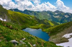 Beautiful landscape in Fagarasan mountains. Popular travel destination. Capra lake between hills, mountain ridge in the distance on a cloudy summer day Royalty Free Stock Image