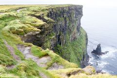 Cliffs of Moher and OBriens Tower Ireland. Beautiful landscape at the famous Cliffs of Moher and  O`Brien`s Tower in Co. Clare, Europe, ireland Royalty Free Stock Photo