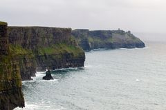 Cliffs of Moher and OBriens Tower Ireland. Beautiful landscape at the famous Cliffs of Moher and  O`Brien`s Tower in Co. Clare, Europe, ireland Royalty Free Stock Photography