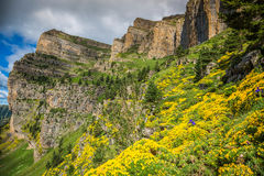 Beautiful landscape of famous Ordesa National Park, Pyrenees, Sp Royalty Free Stock Images