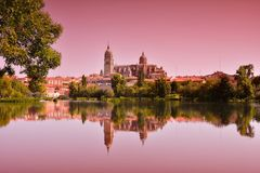 Beautiful landscape with famous Salamanca cathedral in Spain Royalty Free Stock Photos