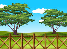 A beautiful landscape with a fence. Illustration of a beautiful landscape with a fence Royalty Free Stock Photography