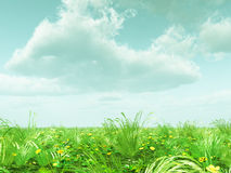 Beautiful landscape with flowers. 3d image Stock Images