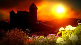 Beautiful landscape with flowers Royalty Free Stock Photo