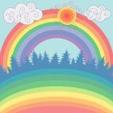 Beautiful landscape with forest, rainbow, sun in cartoon style.  Stock Photos