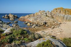 Coastal landscape close to O Grove, Galicia, Spain Royalty Free Stock Photography