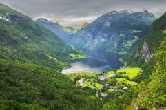 Panoramic view of Geiranger fjord stock images
