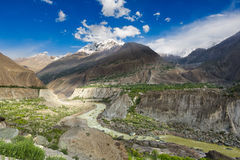 Beautiful Landscape Gilgit. River  beetween mountain on the way to gilgit Stock Photos