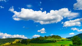 Beautiful landscape with gorgeous cloudscape over the hills of P. Ieniny mountains royalty free stock image
