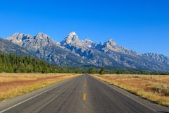 Beautiful Landscape of Grand Tetons Range. Daytime Image of Grand Tetons National Park in Wyoming, USA stock photography