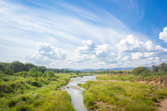 Beautiful landscape with grassy field, river small Stock Photos