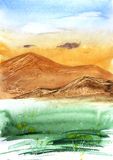 Beautiful landscape: green grass, hight mountains, blue sky and clouds. Hand drawn artwork. Watercolor illustration with idyllic mood. Abstract background with Stock Photography