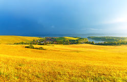 Beautiful landscape, green and yellow meadow and Royalty Free Stock Photo