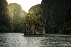 Beautiful landscape of Halong Bay with sunshine in Vietnam. Beautiful view of landscape of Halong Bay with sunshine in Vietnam stock image