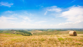 Beautiful landscape with hay bale in spring, Val d Orcia, Tuscany, Italy Stock Photo