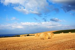Beautiful landscape with hay bales, Scotland Stock Photo