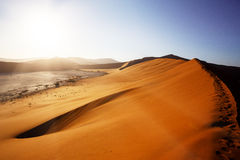 Beautiful landscape of Hidden Vlei in Namib desert. Beautiful sunrise landscape of hidden Dead Vlei in Namib desert with blue sky, this is best place in Namibia Royalty Free Stock Photos