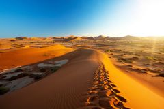 Beautiful landscape Hidden Vlei in Namibia Africa. Beautiful sunrise landscape, hidden Dead Vlei in Namib desert, view from top of dune with sun, Namibia, Africa royalty free stock photo