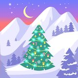 Beautiful Landscape of High Snowy White Mountains. And moon with bright stars on blue sky. Vector background with decorated Christmas fir tree with garlands Stock Image
