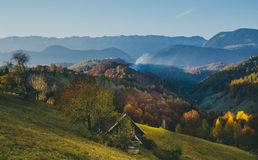 Beautiful landscape of a highland village in Romania Pestera Bran. Rustic life fresh air Royalty Free Stock Photos
