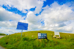 Beautiful landscape with hill and sheep farm Stock Photo