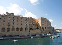 Malta, the Three Cities, Landscape of Il Birgu Valletta. Beautiful landscape of historic buildings in Il Birgu, one of the Three Cities, located opposite, the Royalty Free Stock Images