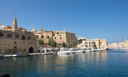 Malta, Three Cities, Landscape of forts in Il Birgu Valletta. Beautiful landscape of historic buildings in Il Birgu, one of the Three Cities, located opposite Stock Photo