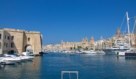 Malta, Three Cities, Scenic landscape of Il Birgu Valletta. Beautiful landscape of historic buildings in Il Birgu, one of the Three Cities, located opposite, the Royalty Free Stock Photos