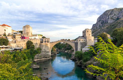 Beautiful landscape of the historic town of Mostar in the lights Royalty Free Stock Images