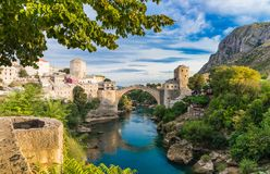 Beautiful landscape of the historic town of Mostar, valley of the Neretva River Royalty Free Stock Images