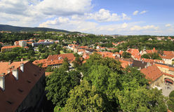 Beautiful landscape of historical center of Cesky Krumlov. Royalty Free Stock Images