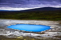 Beautiful landscape with hot geothermal spring Blahver at night in Hveravellir, Iceland stock photo