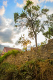 beautiful landscape with a house with stone fence Royalty Free Stock Photos