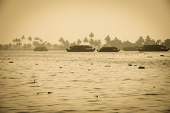 Beautiful landscape with houseboats in Kerala Royalty Free Stock Photo
