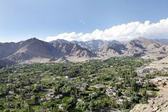 Beautiful Landscape with houses and green valley of leh Stock Photography