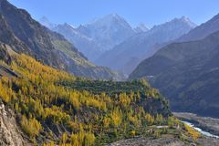 Beautiful Landscape of Hunza Valley in Autumn season. Royalty Free Stock Photos
