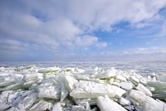 Beautiful landscape of ice floes in Netherlands. Beautiful landscape of ice floes on the IJsselmeer in the Netherlands Stock Photography