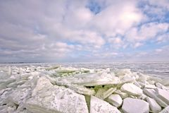 Beautiful landscape of ice floes in Netherlands Royalty Free Stock Photos