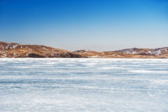 Beautiful landscape with ice and snow on the lake Royalty Free Stock Photography