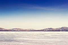 Beautiful landscape with ice and snow on the lake Stock Image