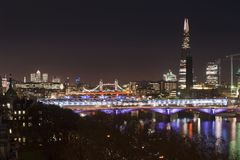Beautiful landscape image of the London skyline at night looking Stock Photos