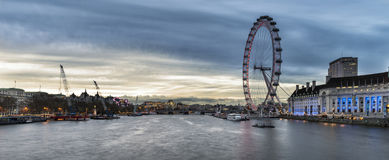 Beautiful Landscape image of London skyline viewed from Westminster Bridge looking East stock photography
