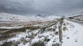 Beautiful landscape image in Winter Snowdonia National Park with Royalty Free Stock Photo