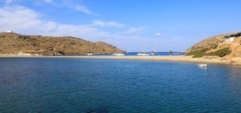 Beautiful landscape of Kolona beach Kythnos island Cyclades Greece. Travel destinations September 2018. Horizontal stock images