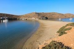 Beautiful landscape in Kolona beach Kythnos island Cyclades Greece. Travel destinations September 2018. Horizontal royalty free stock photos