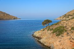 Beautiful landscape in Kolona beach Kythnos island Cyclades Greece. Travel destinations September 2018. Horizontal stock photo