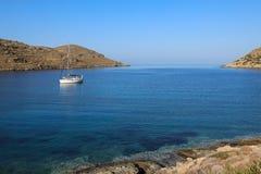 Beautiful landscape in Kolona beach Kythnos island Cyclades Greece. Travel destinations September 2018. Horizontal royalty free stock photo