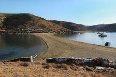 Beautiful landscape in Kolona beach Kythnos island Cyclades Greece. Travel destinations September 2018. Horizontal royalty free stock image